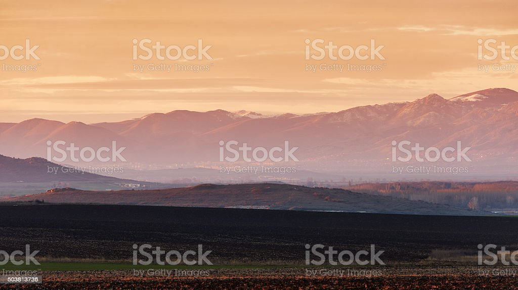 Landscape with mountain at sunset stock photo