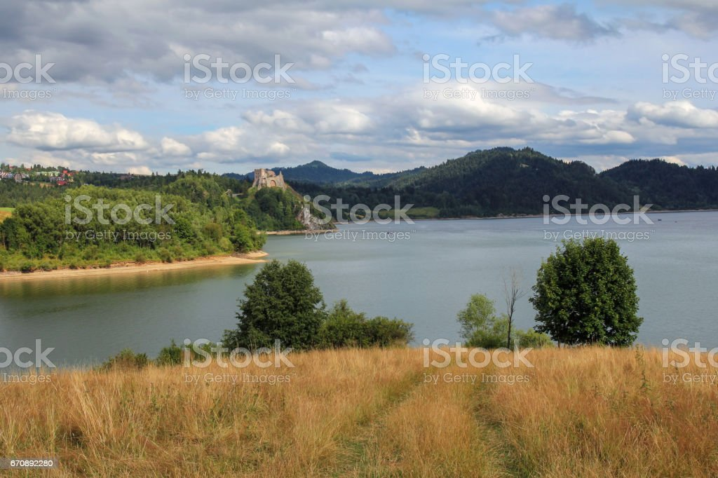 landscape with mountain lake and castle stock photo