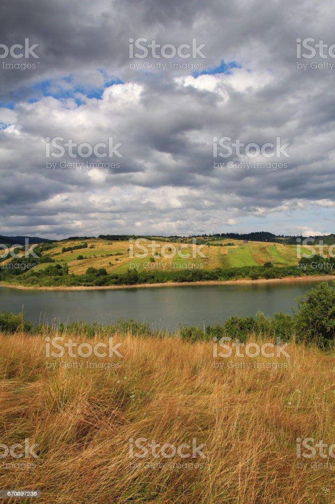 landscape with mountain lake stock photo