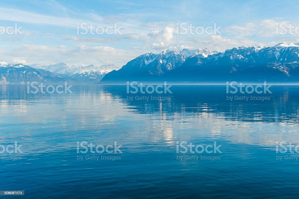 Landscape with mountains and lake Geneva stock photo