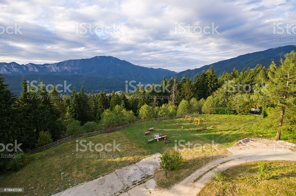 Landscape with mountains in Predeal, Romania stock photo