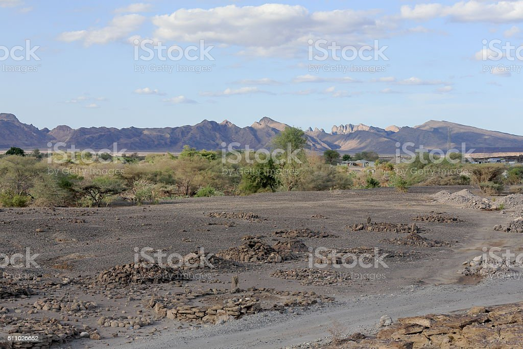 Landscape with mountains-SE.section of Danakil desert. Afar region-Ethiopia. 0131 stock photo