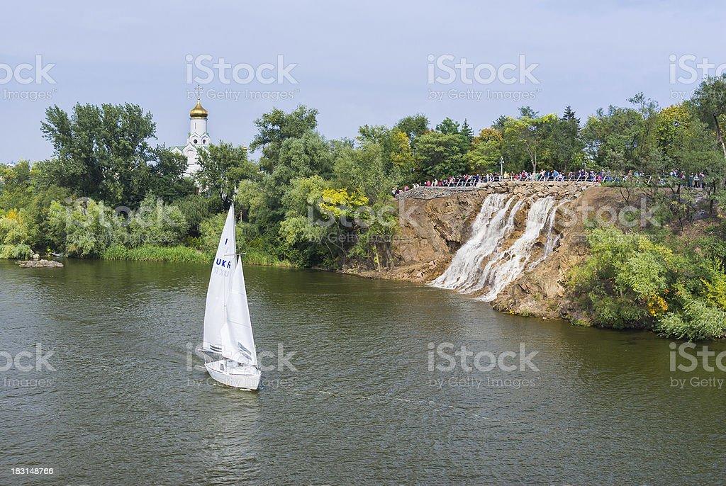 Landscape with Orthodox Church in Dnepropetrovsk city, Ukraine stock photo