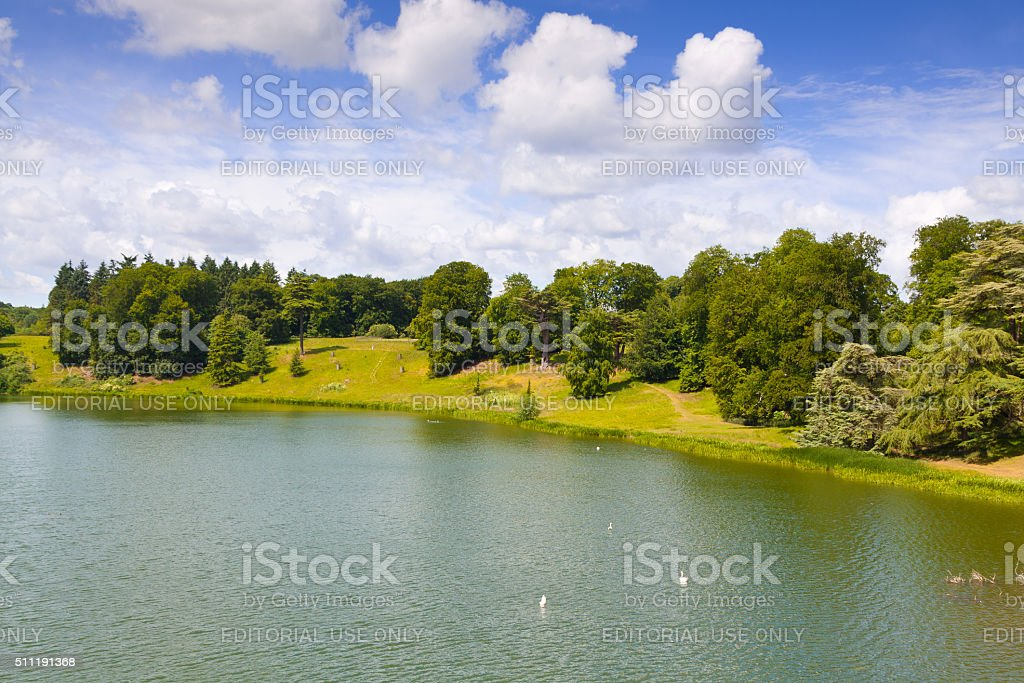 Landscape with Park at Blenheim Palace, Woodstock, Oxfordshire, England, UK. stock photo