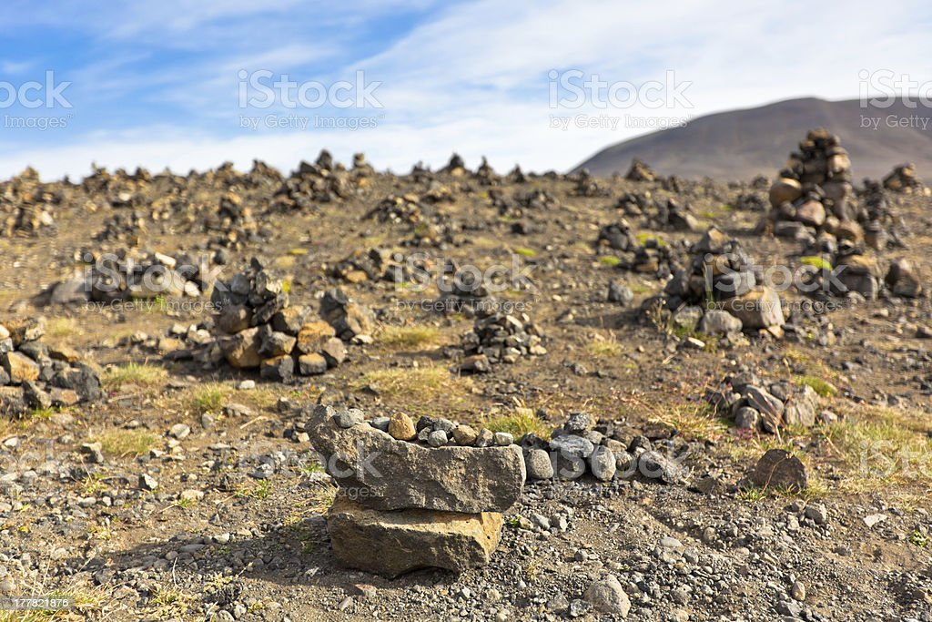 Landscape with Pyramids from stones, Iceland royalty-free stock photo