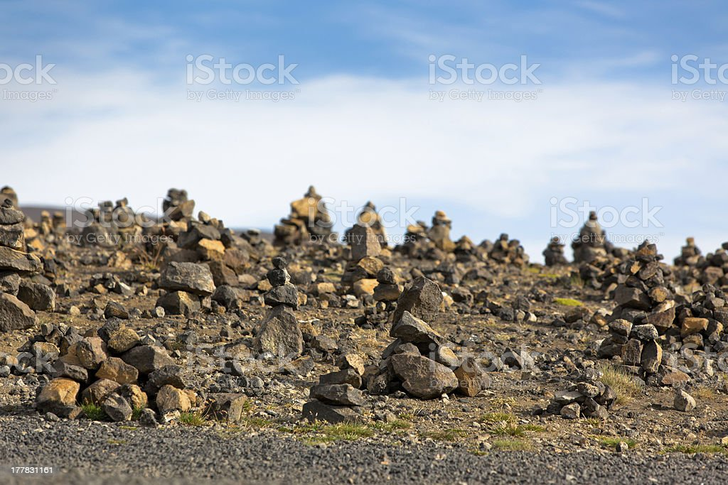 Landscape with Pyramids from stones, Iceland. royalty-free stock photo