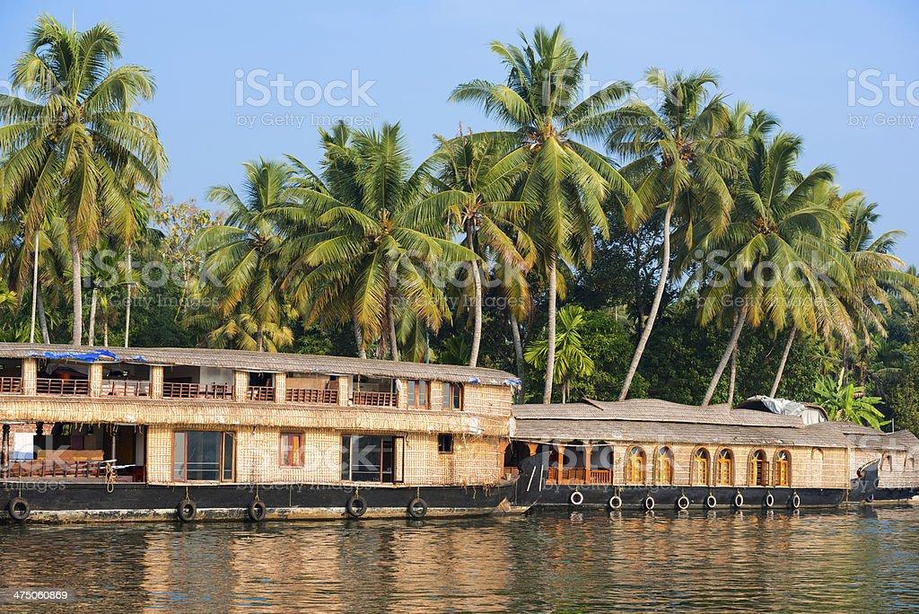 landscape with reflection houseboat stock photo