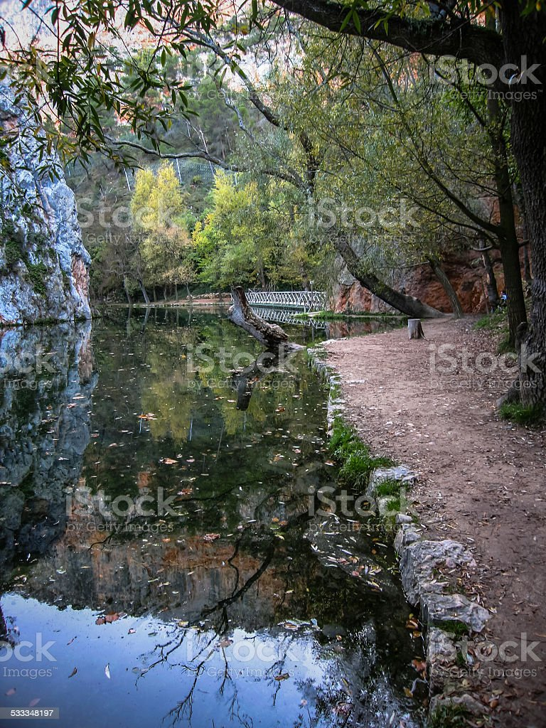 Landscape with reflections in the lake at Monasterio de Piedra, stock photo