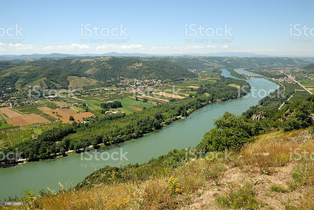 Landscape with Rhone river, France stock photo