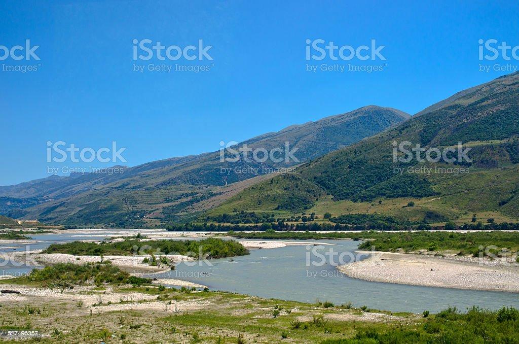 Landscape with river, Albania stock photo