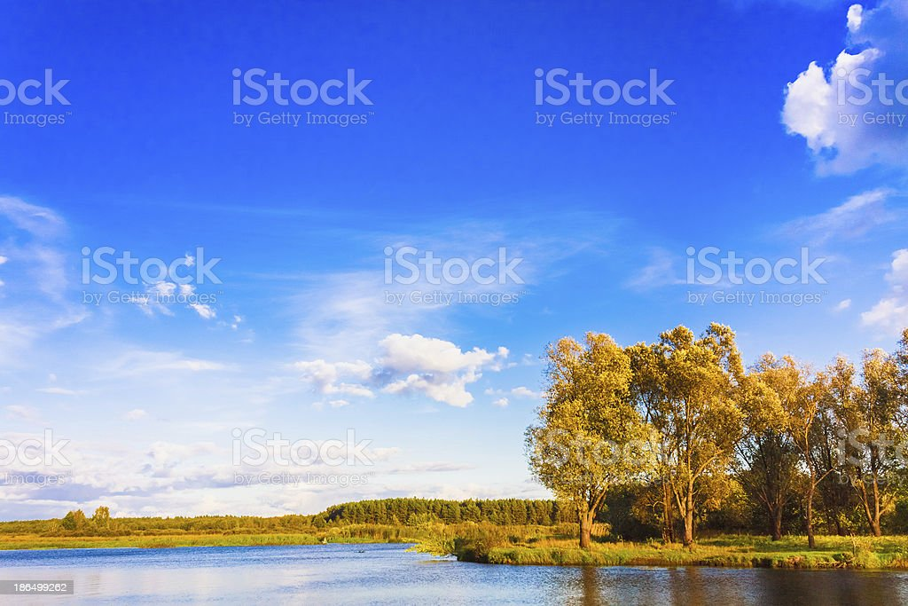 Landscape With River And Blue Sky royalty-free stock photo