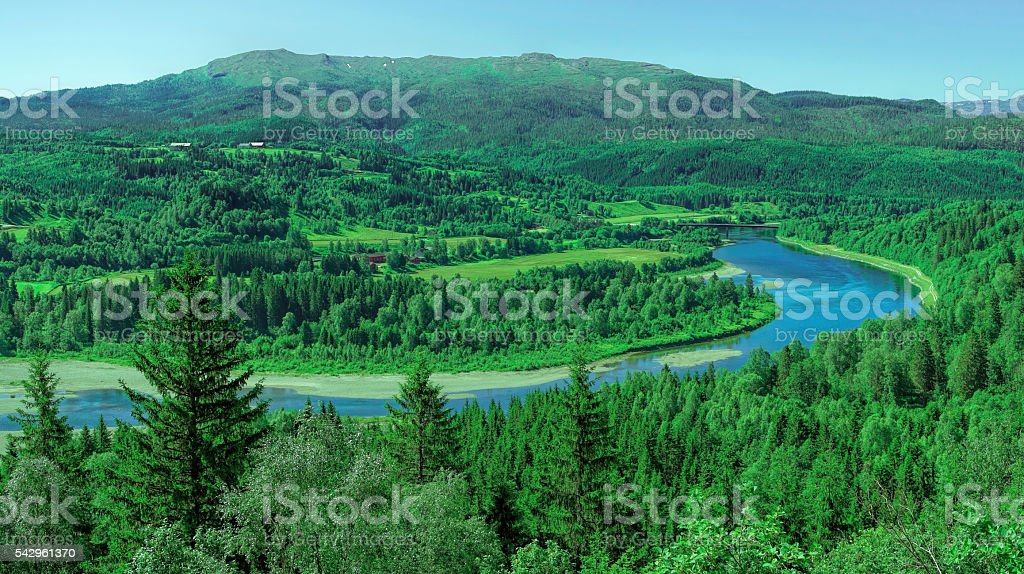 Landscape with River and valley in Norway stock photo