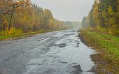 Landscape with road, rain and mist in Ukraine