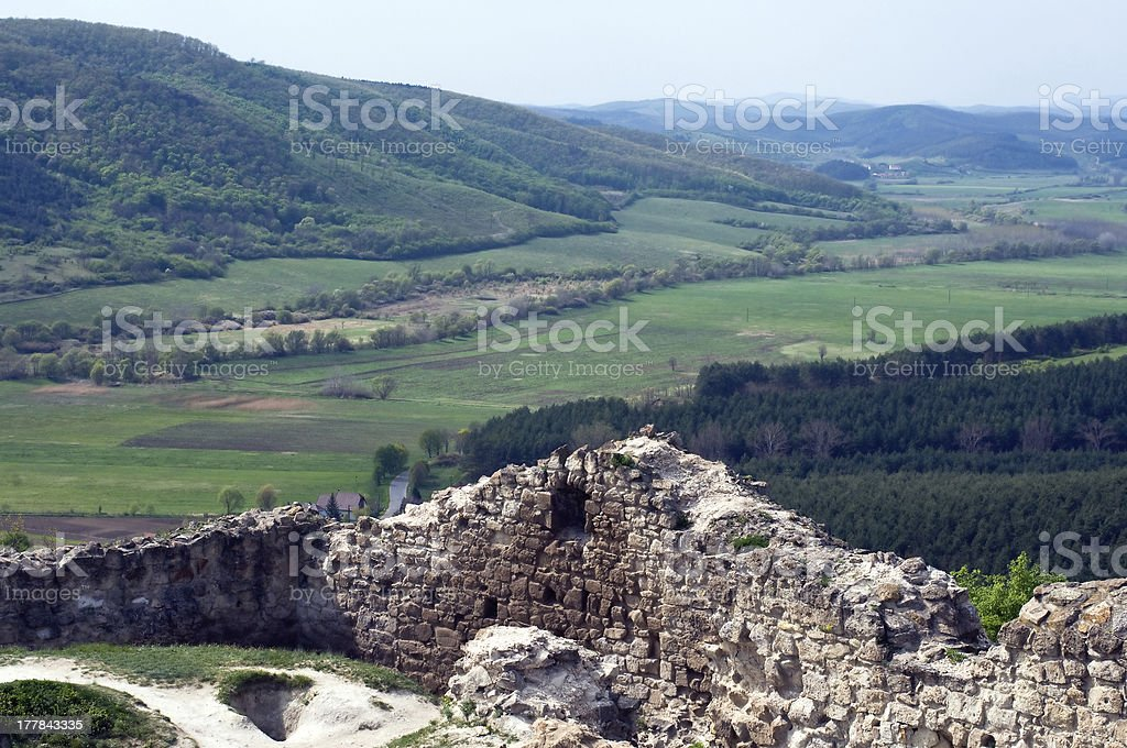 Landscape with ruins stock photo