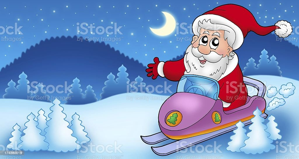 Landscape with Santa Claus on scooter royalty-free stock photo