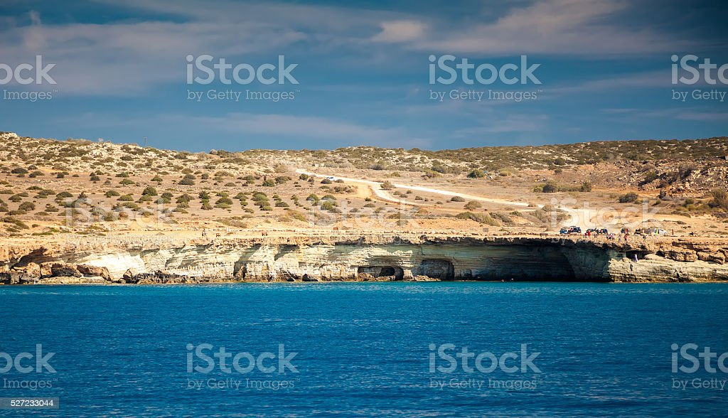 landscape with sea caves stock photo