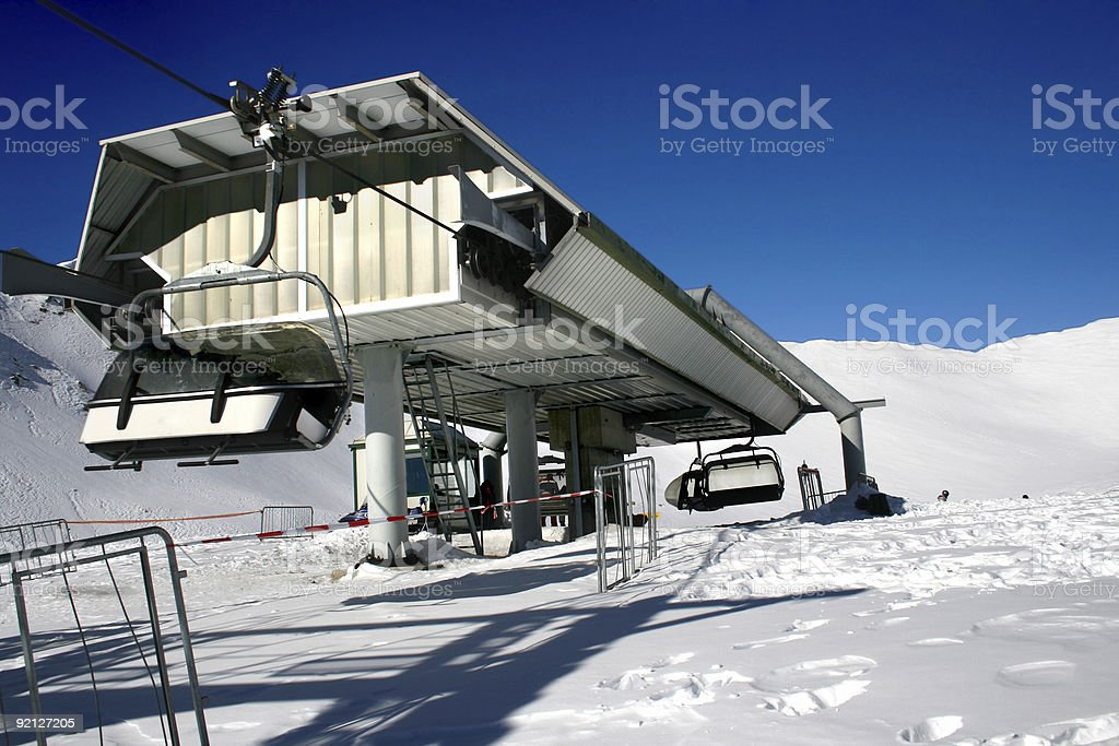 Landscape with ski lift stock photo