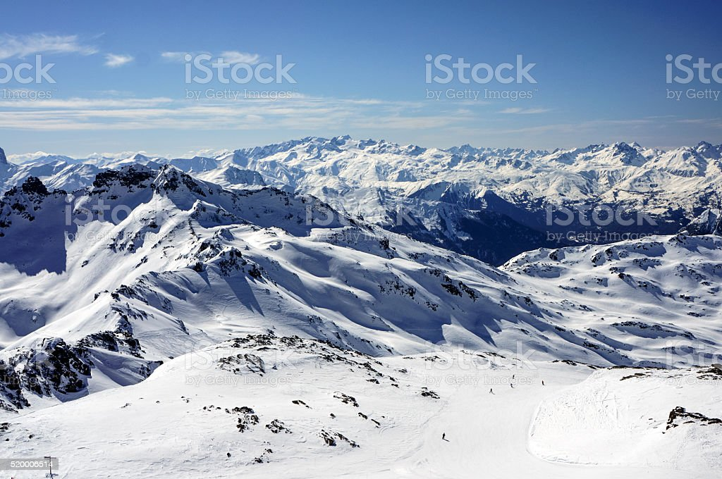 Landscape with ski pistes from Cime Caron stock photo