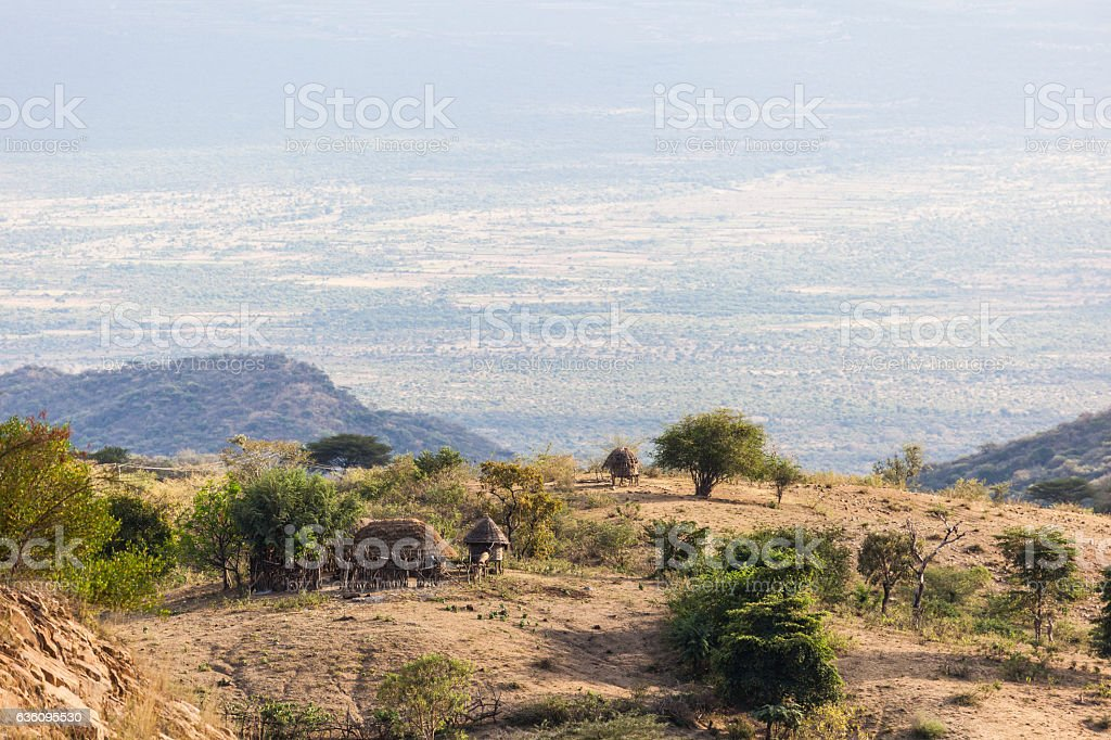 Landscape with small traditional hut. Omo Valley. Ethiopia. stock photo