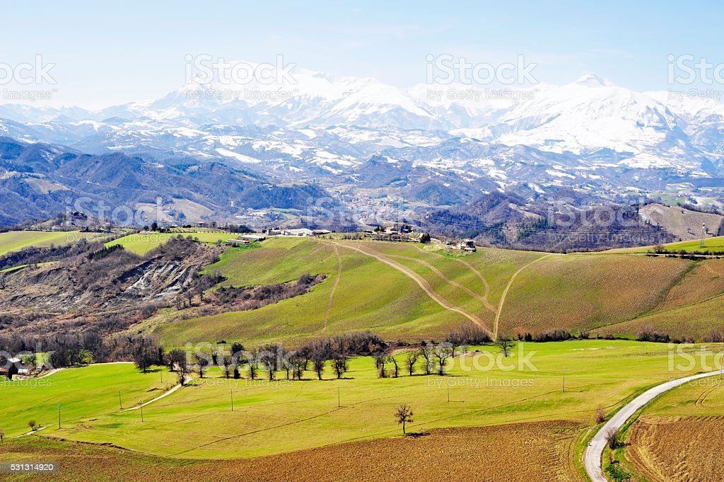 Landscape with snow covered mountains in Marche region,Italy stock photo