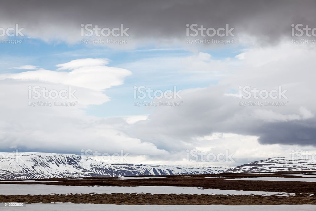 Landscape with snow in Northern Iceland stock photo