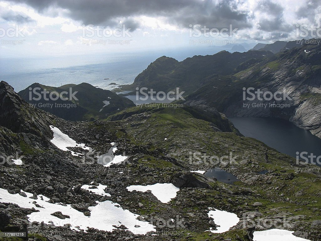 Landscape with snow in the Lofoten islands near A village royalty-free stock photo