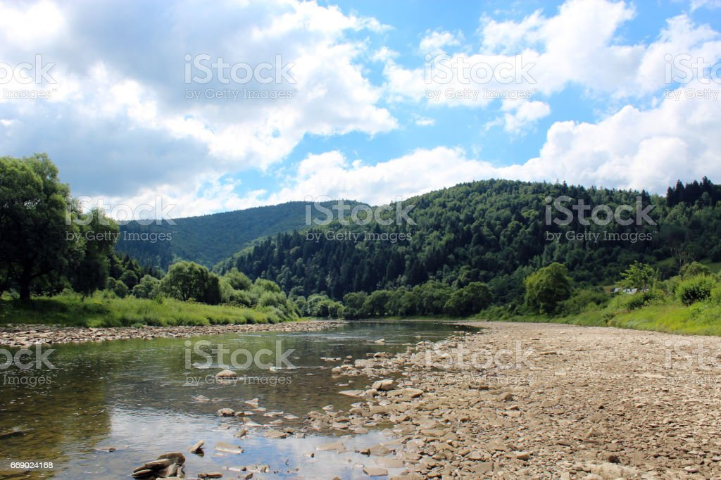 landscape with speed river in Carpathian mountains stock photo
