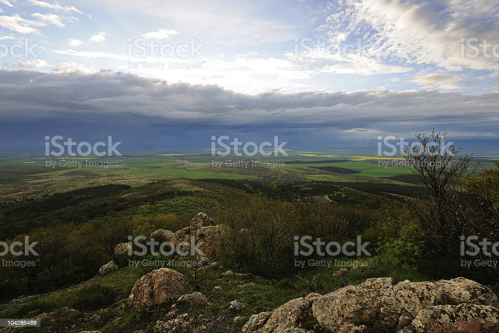 Landscape with storm clouds stock photo