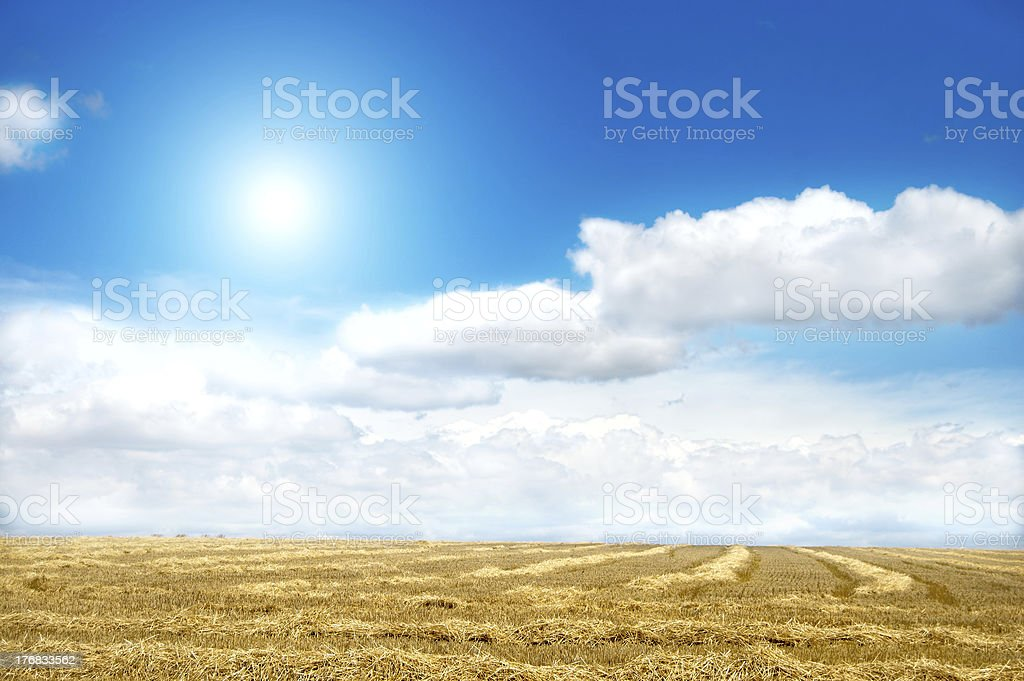 landscape with sun and clouds royalty-free stock photo