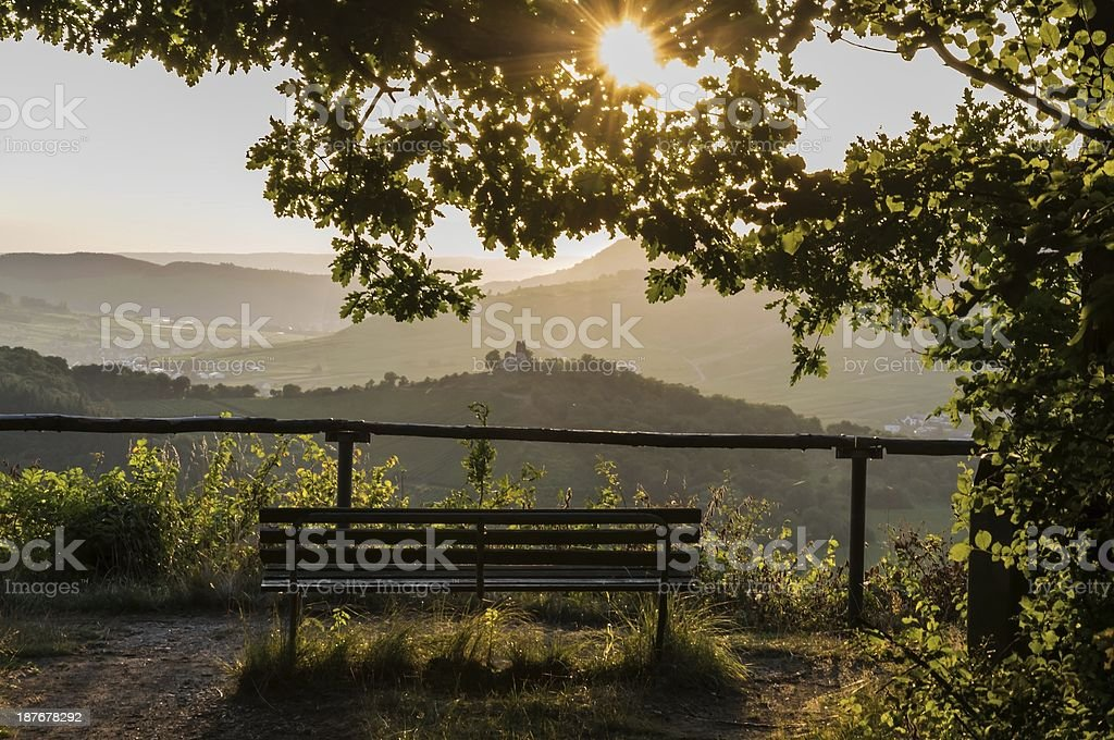 Landscape with the bench stock photo