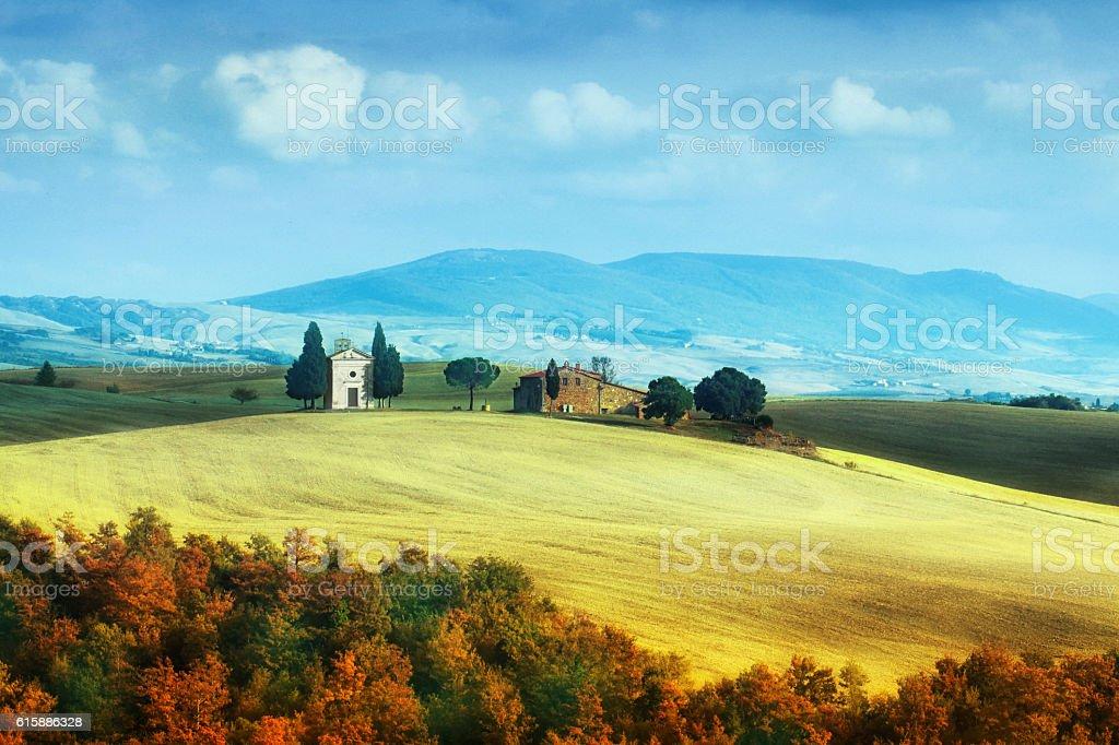 Landscape with the Capella di Vitaleta in Tuscany, Italy stock photo