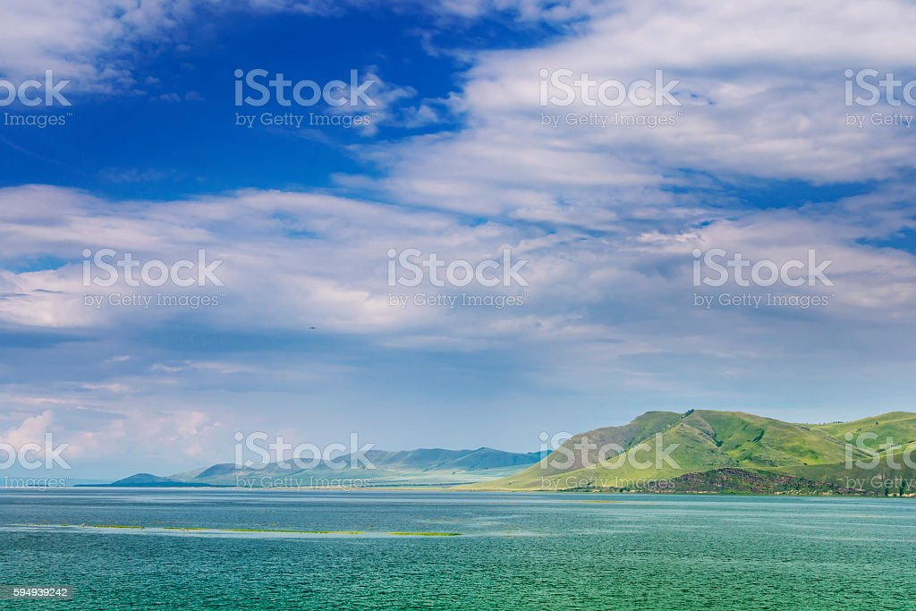 landscape with the river and a mountain ridge stock photo