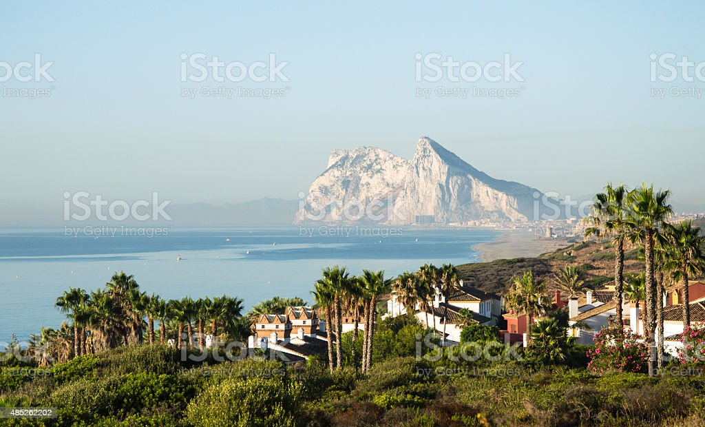 Landscape with the rock of Gibraltar in the background. stock photo