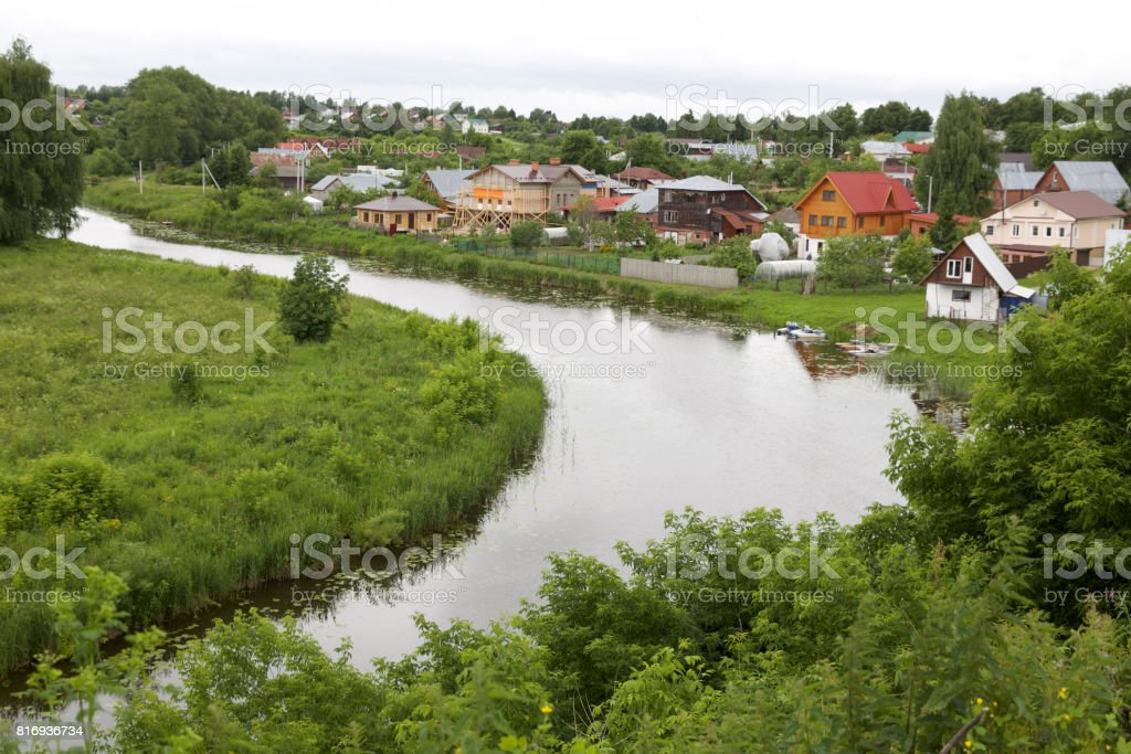 Landscape with the turn of the river, Suzdal stock photo