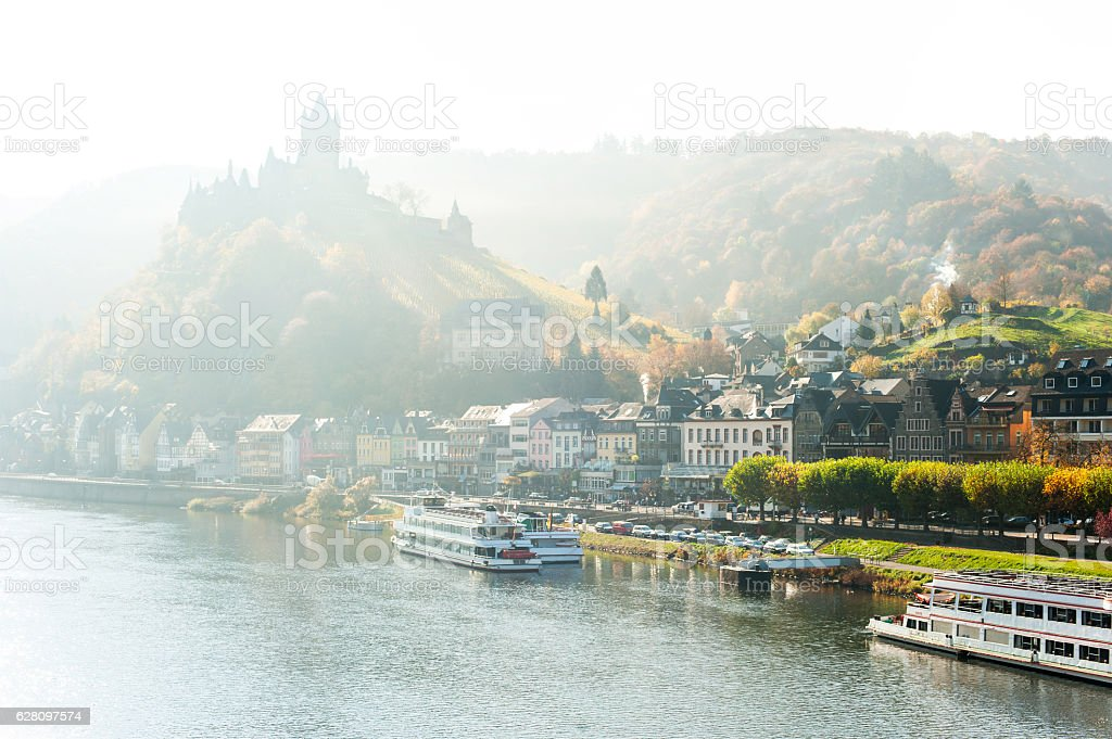 Landscape with town Cochem on river moselle with reichsburg castle stock photo