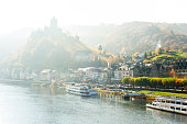 Landscape with town Cochem on river moselle with reichsburg castle