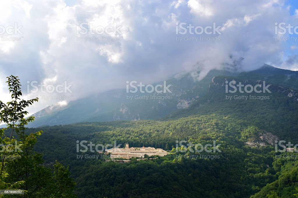 Landscape with Trisulti charter house and mountains - Trisulti, Collepardo, Italy stock photo