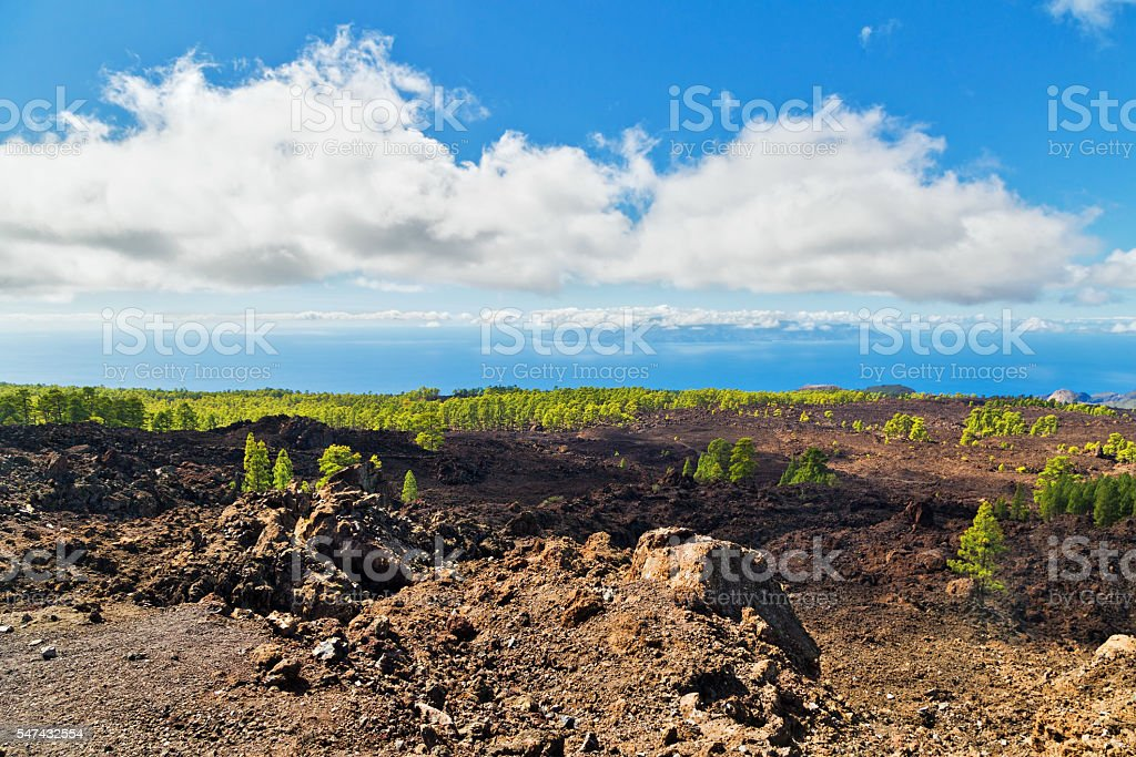 Landscape with valley, mountains, sea stock photo