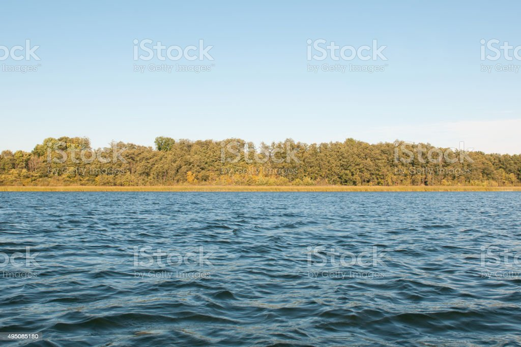 Landscape with view of lakeside in the autumn. stock photo