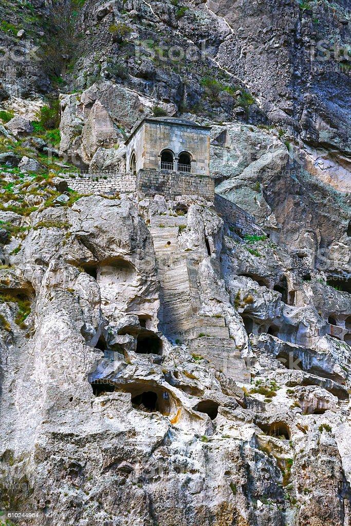 Landscape with views of the cave monastery of Vardzia. (Gruziya) stock photo