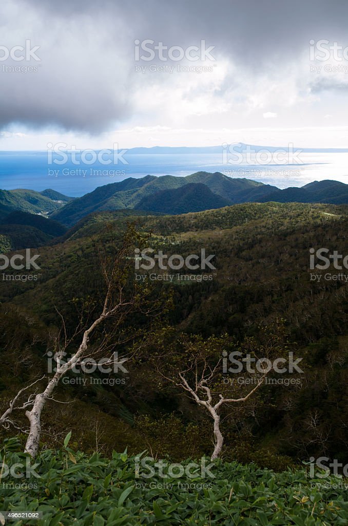 Landscape with views of the Kunashir stock photo