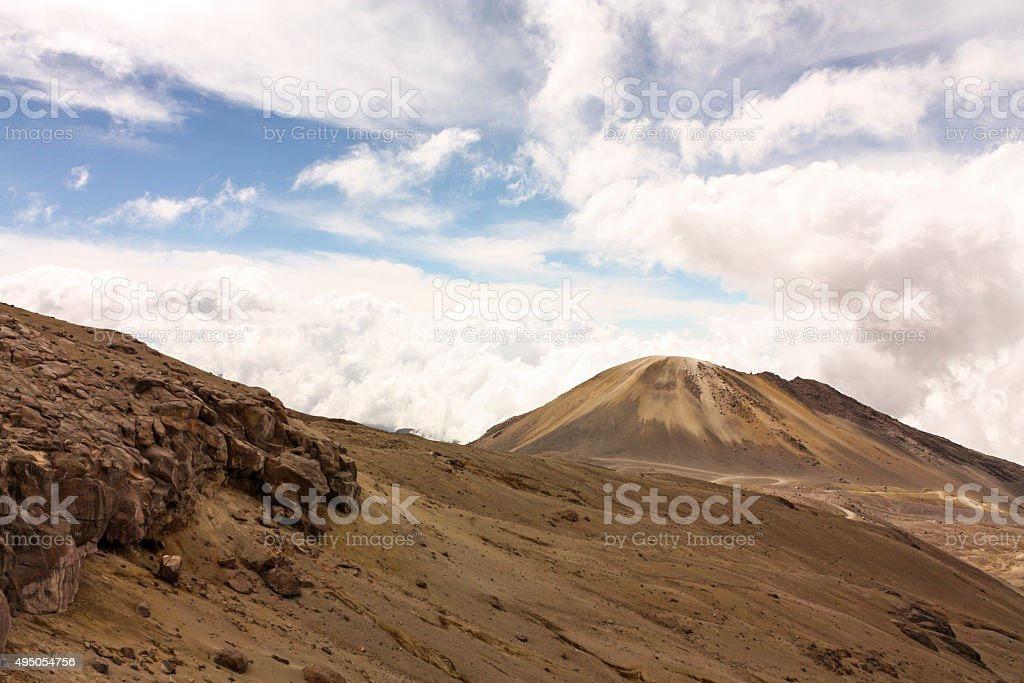 Landscape with volcano. Moor. National Natural Park snow. Andean stock photo