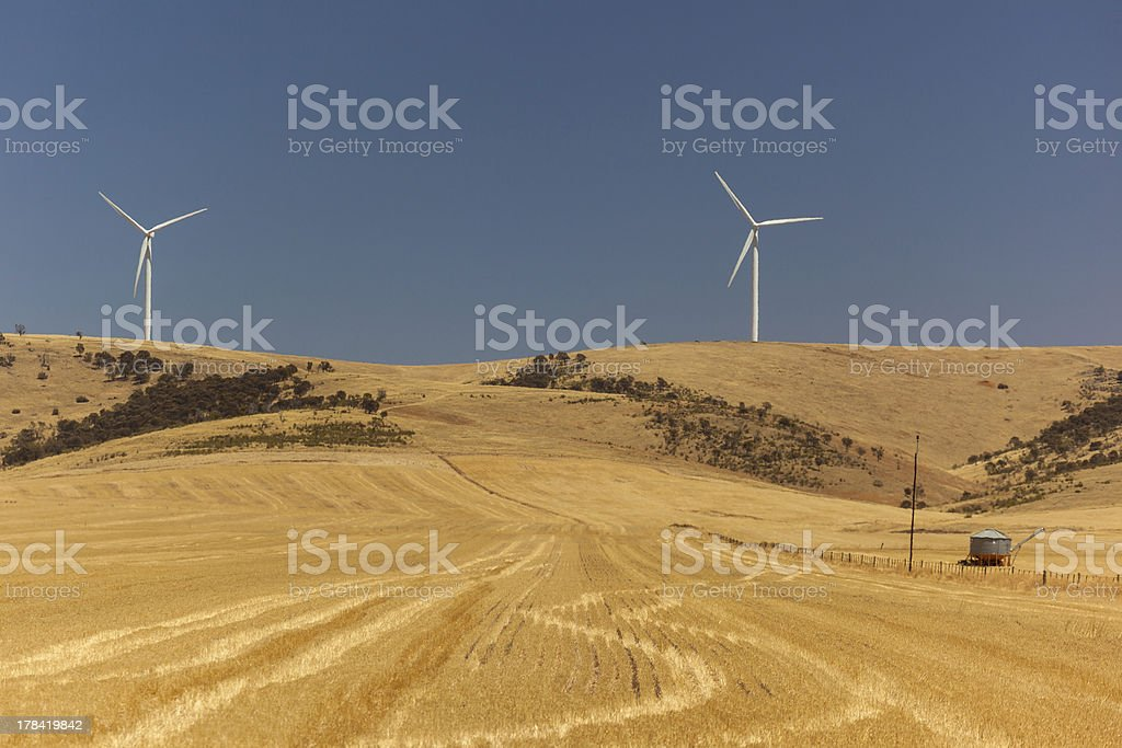 Landscape with wind generators distorted by hot air. South Australia royalty-free stock photo