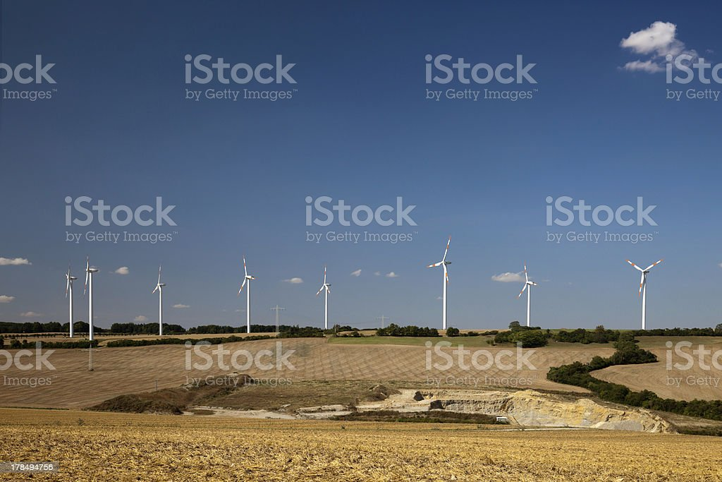 Landscape with wind turbines stock photo
