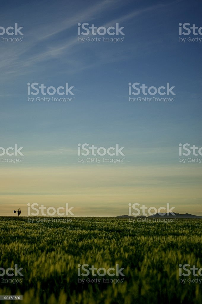 Landscape with windmill stock photo