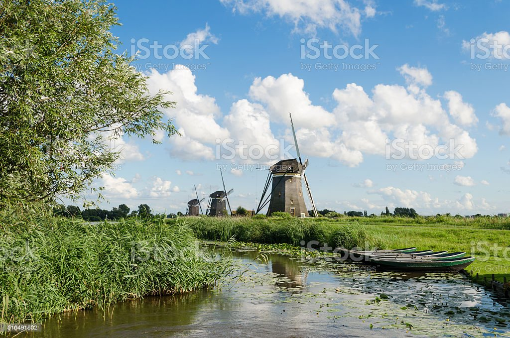 Landscape with windmills in Holland stock photo