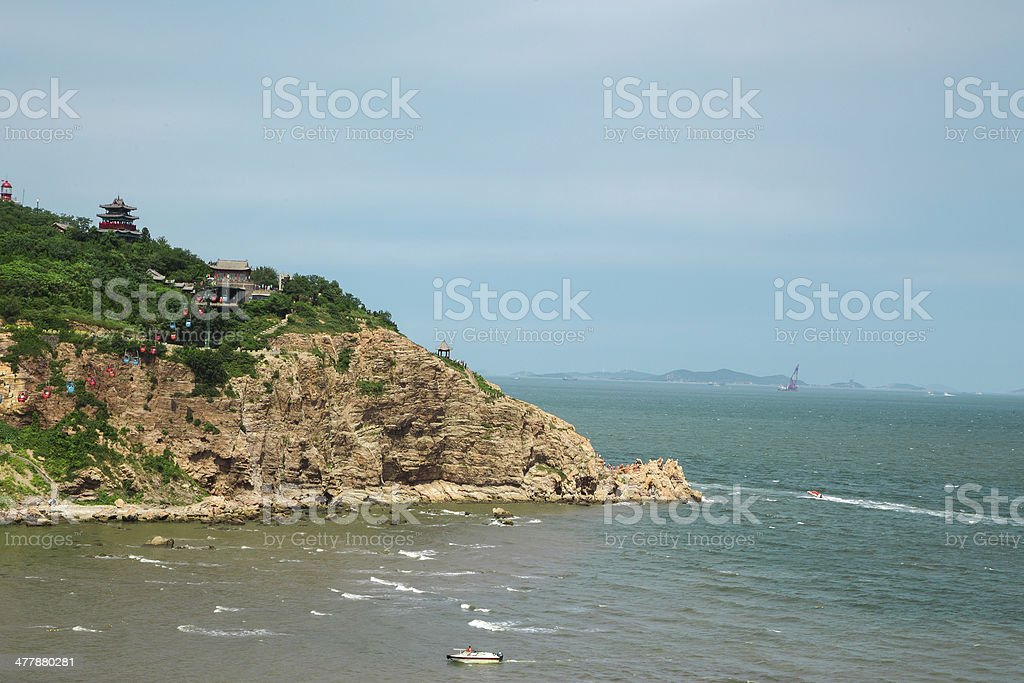 landscape:Chinese temple on mountain by sea royalty-free stock photo