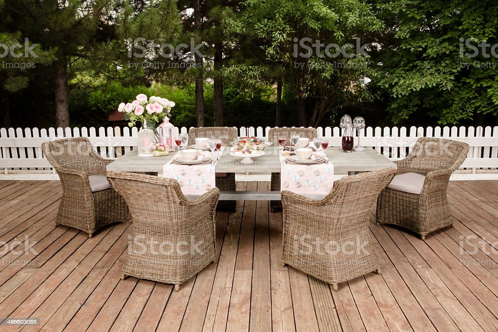 Landscaped Back Yard Patio Garden with Outdoor Furniture stock photo