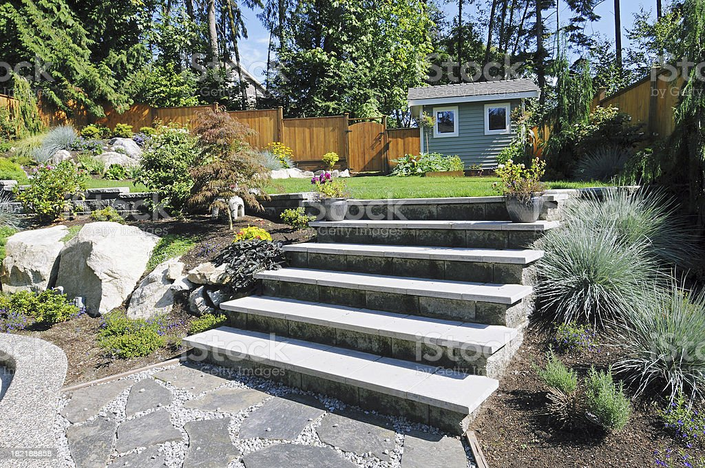 Landscaped Back Yard royalty-free stock photo
