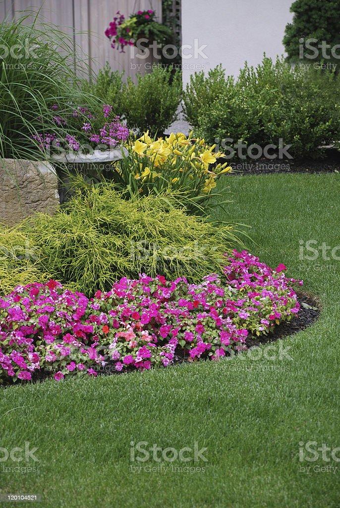 Landscaped flower garden royalty-free stock photo